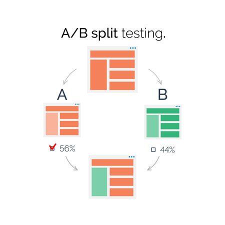 comparison: A-B comparison. Split testing. Scematic concept vector illustration