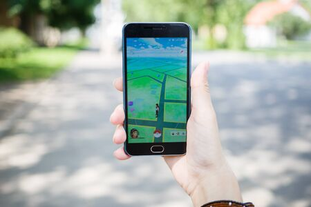 nintendo: Moscow, Russia - August, 02: Android user play in Pokemon Go augmented reality mobile game on smartphone.