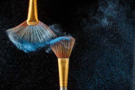 black feathered: Two brushes on background of blue feathered shadows on blank black background