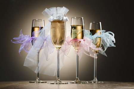 veils: Beautiful wedding glasses with champagne decorated in veils and tulle