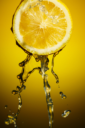 intentional: Juicy lemon close up. Vintage effect with intentional vignette