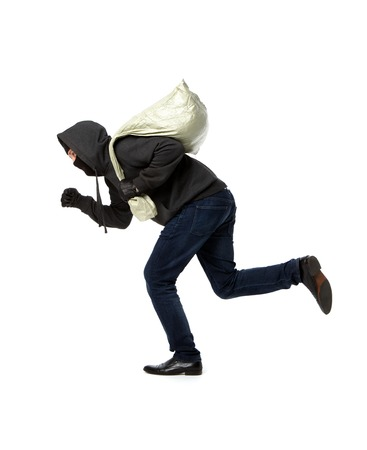 intruder: Thief runs with gray bag on pure white background