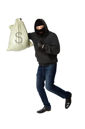 Thief flees with bag of money on pure white background