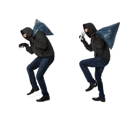 Two thieves steal with bags on shoulders on white background empty
