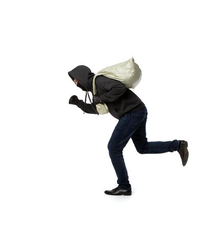 Thief escapes with full bag on pure white background