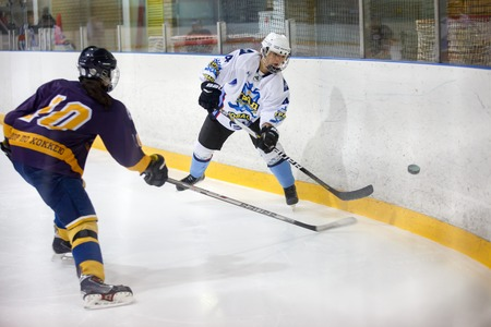 beginner: Moscow, Russia - January, 07, 2017: Female amateur hockey leage LHL-77. Game between female hockey team Grad and female hockey team Atlant.