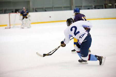 Moscow, Russia - January, 07, 2017: Female amateur hockey leage LHL-77. Game between female hockey team Grad and female hockey team Atlant.