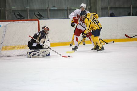 amateur: Moscow, Russia - January, 07, 2017: Amateur hockey league LHL-77. Game between hockey team New Jersey 53 and hockey team Reds.