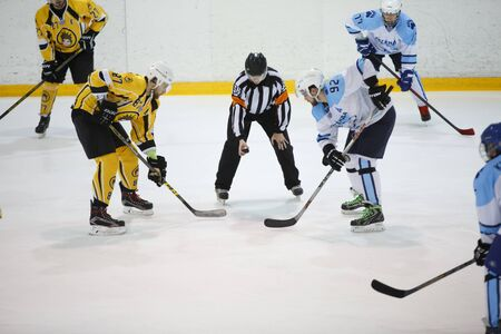Moscow, Russia - January, 08, 2017: Amateur hockey league LHL-77. Game between hockey team New Jersey 53 and hockey team Legend-2. Editorial