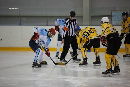 amateur: Moscow, Russia - January, 08, 2017: Amateur hockey league LHL-77. Game between hockey team New Jersey 53 and hockey team Legend-2. Editorial