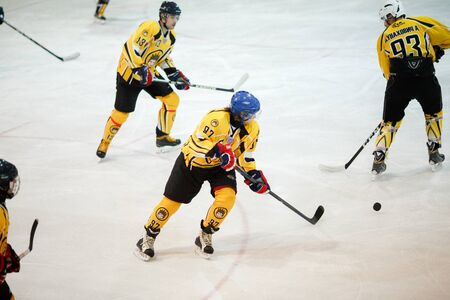 Moscow, Russia - January, 22, 2017: Amateur hockey league LHL-77. Game between hockey team New Jersey 53 and hockey team Grizzly-2.
