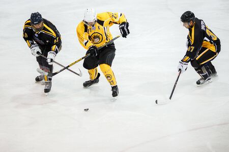 icehockey: Moscow, Russia - January, 22, 2017: Amateur hockey league LHL-77. Game between hockey team New Jersey 53 and hockey team Grizzly-2.