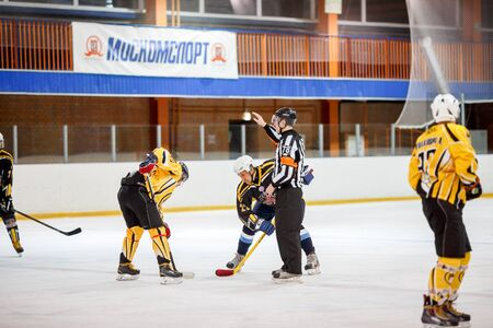lying forward: Moscow, Russia - January, 22, 2017: Amateur hockey league LHL-77. Game between hockey team New Jersey 53 and hockey team Grizzly-2.