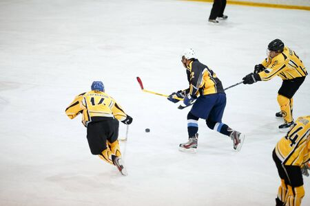 beginner: Moscow, Russia - January, 22, 2017: Amateur hockey league LHL-77. Game between hockey team New Jersey 53 and hockey team Grizzly-2.