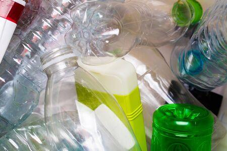 utilized: Photography of utilized plastic bottles Stock Photo
