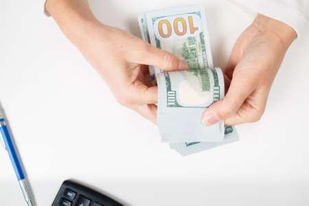 money packs: Female hands counting money, Stock Photo