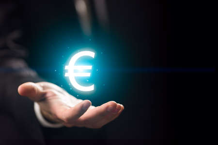 l hand: Man hand l with euro icon Stock Photo