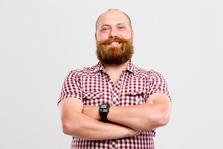 desconfianza: Hombre contento con barba, bigote Foto de archivo