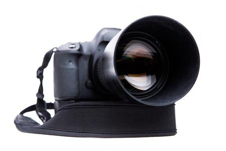 Camera on blank white background Stock Photo