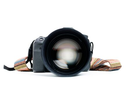 Camera with lens and belt Stock Photo