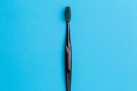 Image of one black toothbrush Stock Photo