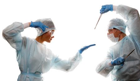 ツールと医師の戦い 写真素材