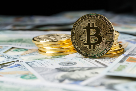 decentralized: Cryptocurrency physical bitcoin coins. Stock Photo