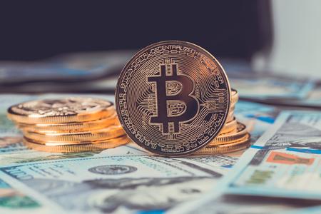 Gouden bitcoin. Bitcoin cryptocurrency. Stockfoto