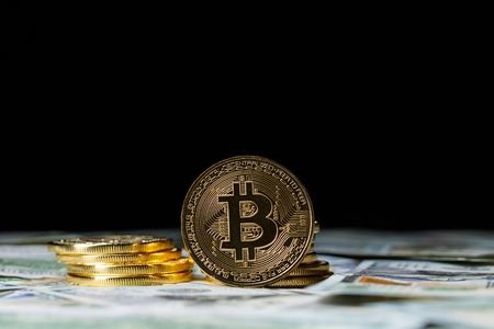 Cryptocurrency physical bitcoin coins. Stock Photo