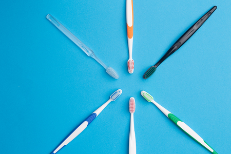 prophylaxis: Colorful toothbrushes , place for inscription Stock Photo