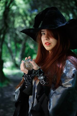 Picture of witch in hat Stock Photo