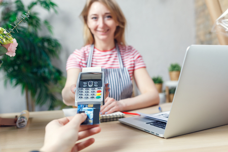POS-terminal in the shop. Stock Photo