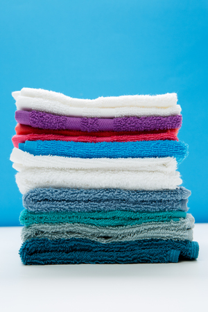 Photo of close-up of multi-colored terry towels 스톡 콘텐츠