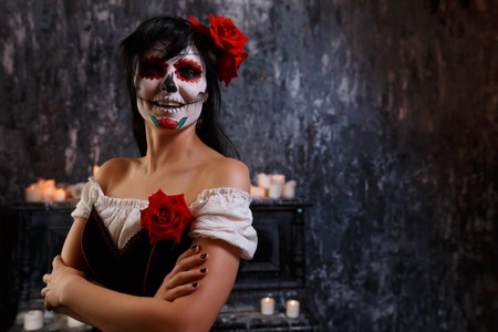Halloween picture of smiling zombie woman with makeup Zdjęcie Seryjne