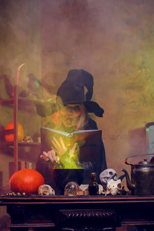 Witch on cauldron with steam