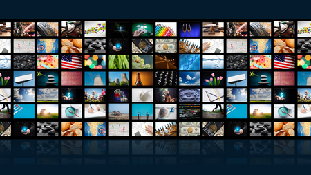TV set with pictures of smart television ,close up.
