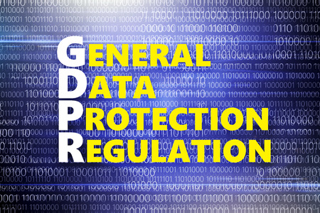 General regulations for protection of personal data. Yellow inscription on blue background with binary code .