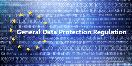 General regulations for protection of personal data on background with binary code
