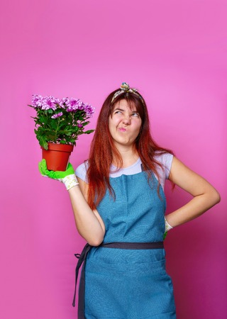 Photo of woman with chrysanthemums