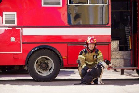 Photo of cheerful man firefighter with dog near fire truck Stockfoto