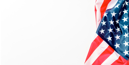 American flag located on side on blank white background, lettering space, Independence Day 4th of July