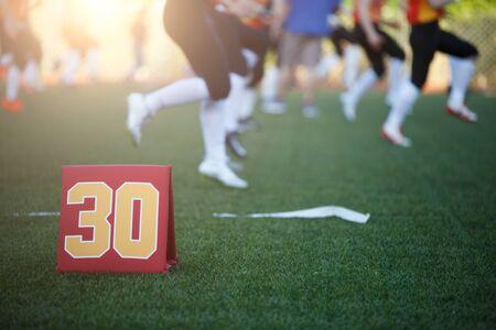Photo of soccer field with number thirty running football players on blurred background on summer day