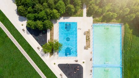 Photo from above of basketball field in park on summer Stock Photo