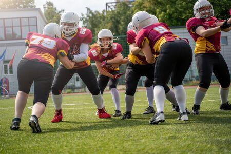Full-length photo of athletes women playing american football on green lawn Zdjęcie Seryjne