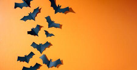 Halloween photo of black bats flying up on blank orange background.