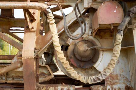 Close-up of excavator bucket on street Stok Fotoğraf