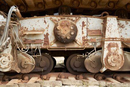 Close-up of rusty excavator bucket outdoors