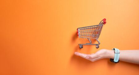 Iron small trolley from supermarket onempty orange background in studio and mans palm.