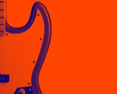 Part of guitar on empty red background, close-up