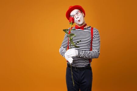 Unhappy mime with white face in red hat and striped t-shirt holding rose on empty orange background